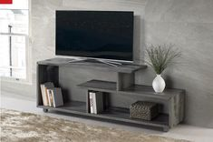 Rustic Modern Solid Wood TV Stand Console Entertainment Center in Gray - Walker Edison a modern statement in your living room with this console. The unique design and asymmetrical frame provide a shelving variation that gives a rustic, o Living Room Tv, Living Room Furniture, Solid Wood Tv Stand, Gray Tv Stand, Rack Tv, Tv Stand Console, Console Shelf, Fireplace Tv Stand, Modern Tv