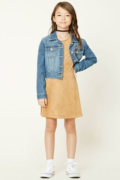 Forever 21 Girls - A faux suede dress featuring a skater silhouette, a round neckline, and short sleeves.