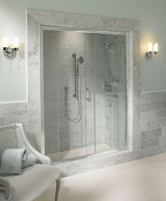 Lovely walk-in shower space.