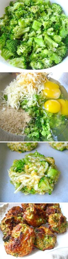 Broccoli Cheese Bites - Ingredients  16 oz. package of frozen chopped broccoli, thawed and drained of liquid (I used fresh steamed broccoli) 1 1/2 cup of grated cheddar cheese 3 eggs salt & pepper 1 cup of seasoned Italian breadcrumbs - Mix all together, make into small patties and back for 25 mins at 375F. Turn after 15min