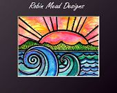 Waves sun ocean beach landscape sunset art print The Tide 5 x 7 by Robin Mead Designs