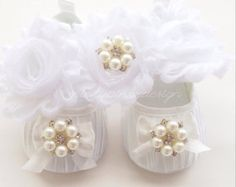 White baptism shoes, christening shoes with headband, baby crib shoes, toddler girl shoes, baby shoes for girls