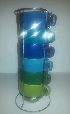 World Market Stackable Mugs w/ Rack Blue & Green Coffee Mugs for home or office