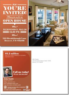 Open House Invitation Template Free Best Of Open House Invitation Postcard Invitation Examples, Printable Invitation Templates, Postcard Template, Invitation Wording, Elegant Invitations, Invites, Open House Invitation, Business Invitation, Real Estate Postcards