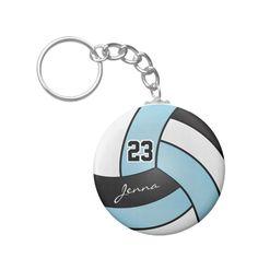 Fabric Key Chain Volleyballs on Green Key Fob