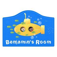 $14.46 | Cute yellow submarine fish cartoon illustration #submarine #underwater #cute #cartoon #underthesea #yellow #ocean #submariner #seaexplorer #explorer Happy Cartoon, Cute Cartoon, Sea Explorer, Kids Door Signs, Foam Adhesive, Yellow Submarine, Dry Erase Board, Room Signs, Acrylic Material