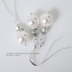 Sterling Silver Bridesmaid Jewelry Set White by alexandreasjewels, $20.00
