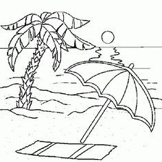 Dibujo Tumbona Playa Para Colorear Buscar Con Google Strand Malvorlagen Strand Zeichnung Zeichenvorlagen