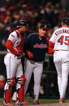 Manager Mike Hargrove expertly led the Tribe to their World Series appearance. Cleveland Against The World, Jacobs Field, Cleveland Indians Baseball, Baseball Helmet, American League, Spring Training, Great Team, World Series, Sports Fan Shop