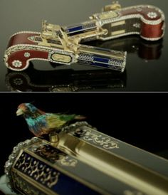An engineering marvel from 1820, these Singing Bird Pistols sold for 5.8 million at auction. Instead of bullets though, they fire a little mechanical bird that sounds and acts just like the real thing