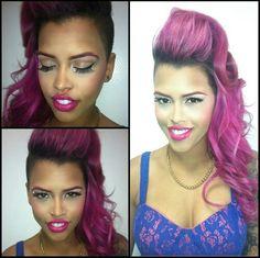 Edgy purple hair...