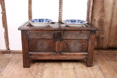 early oak 17th century carved coffer