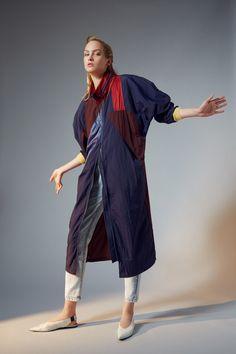 COATS  Long patchwork raincoat Navy