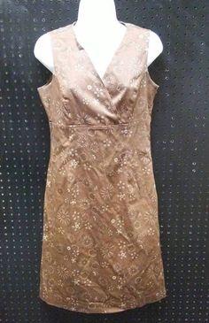 Merona Brown Flower Sleeveless V-Neck Cotton Dress Size Small B255 #Merona