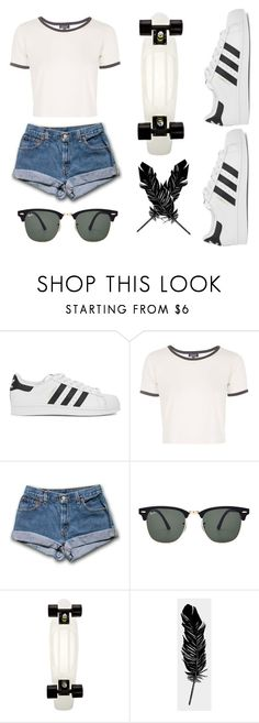 """Sans titre #152"" by supercarlitta ❤ liked on Polyvore featuring adidas Originals, Topshop, Ray-Ban and Tattly"