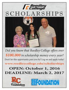 Don't miss this opportunity to apply for a scholarship at Reedley College! The application deadline is March 2nd.  #Scholarships #Reedley