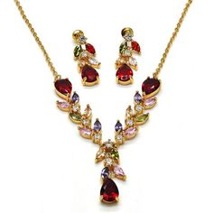 3f3241cb223f Teardrop Set Necklace and Earring Gold Layered Gold Plated Gold Filled  Milanus Jewelry 06.205.0019