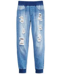 Guess Girls' Sequin-Embellished Denim Jogger Pants