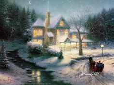 Moonlit Sleigh Ride Thomas Kinkade winter art for sale at Toperfect gallery. Buy the Moonlit Sleigh Ride Thomas Kinkade winter oil painting in Factory Price. Thomas Kinkade Art, Thomas Kinkade Christmas, Kinkade Paintings, Thomas Kincaid, Art Thomas, Creation Photo, Winter Art, Winter Painting, Winter Magic