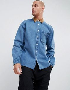 01afd5bd11 ASOS DESIGN overshirt in heavy denim with cord collar and cuffs in mid wash  Asos