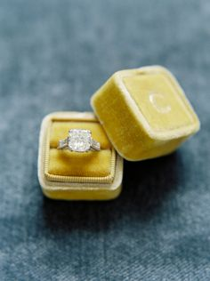 #ring-box, #diamond, #square, #engagement-ring, #princess-cut  Photography: When He Found Her - whenhefoundher.com