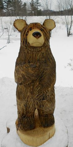 """38"""" Chainsaw Carved Brown Bear Wood Carving Wooden Sculpture Cabin Decor Statue 