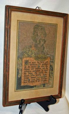 "Vintage Framed MAURINE HATHAWAY ""MOTHER"" Poem Verse ~ Buzza Motto Print"