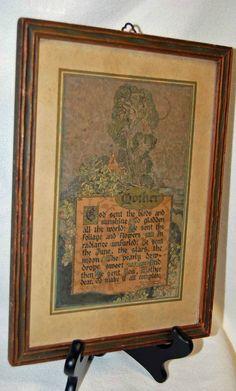 "Vintage Framed MAURINE HATHAWAY ""MOTHER"" Poem Verse ~ Buzza Motto Print"