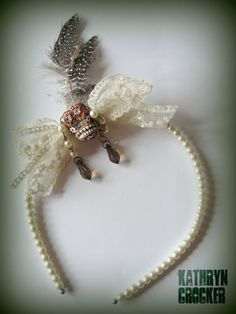Steampunk sugar skull pearls and lace wedding aliceband feather fascinator