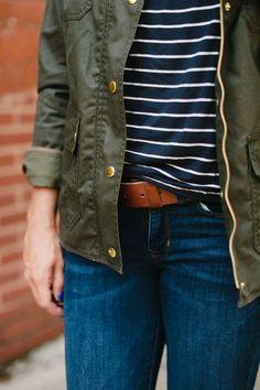 Stripes + J.Crew Field Jacket * #jcrew #stripes #denim