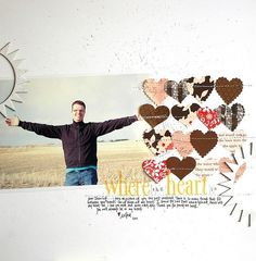 scrapbook page layout, hearts,