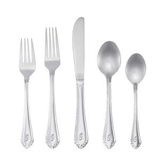 RiverRidge 46 Pc Personalized Flatware - Royalty Pattern - O, Silver ($80) ❤ liked on Polyvore featuring home, kitchen & dining, flatware, silver, colored flatware, colored flatware sets, colored silverware, silver silverware and silver flatware