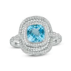 Sterling Silver Cushion-Cut Blue Topaz and CT. Diamond Rope Frame Ring Turn heads with this dazzling gemstone and diamond ring. Created in sterling silver, this luxe design showcases a cushion-cut sky-blue topaz. The layered concave Blue Topaz Stone, Blue Topaz Ring, Diamond Stone, Vintage Engagement Rings, Diamond Engagement Rings, Solitaire Engagement, White Gold Rings, White Gold Diamonds, Rose Gold