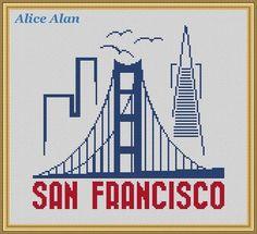Cross Stitch Pattern City San Francisco vintage от HallStitch