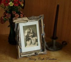 Photo Picture Frame Driftwood Nautical Country Primitive Folk Art by HunnyCraftsPimitives on Etsy