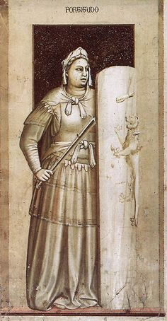 Giotto - Les sept vertus: La Force (ou le Courage) (1303-1306) - Peinture à…