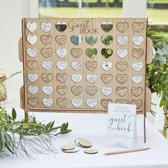 DESCRIPTION This wooden guest book alternative is a fun way to look back on wedding messages for years to come. The game is east to construct with all elements provided, simply ask your guests to sign a token and slot into the four in a row holder. Pack contains 1 base piece, 2 x sides, 1 x insert shelf to put in the base of the product, 56 tokens for signing - 28 white tokens and 28 wooden color tokens Cute Wedding Ideas, Diy Wedding, Fall Wedding, Wedding Favors, Dream Wedding, Jenga Wedding, Wedding Supplies, Natural Wedding Ideas, Unique Wedding Reception Ideas