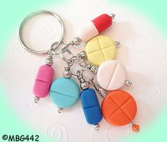 I NEED THIS! Pill Key Ring Handmade from My Bead Garden by mybeadgarden, $12.00