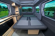 Fold aw ay double bed VW camper van conversion. Devon camper van conversions http://tcconversions.co.uk/