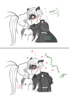 """The comic kinda works as a standalone, but it's meant to be an alternate crack ending to chapter 7 of my fanfic """"Discordant Sonata"""", after Adrien saves Ladybug from an akuma, and eventually is able to slip away and transform to help her as Chat Noir. Miraculous Ladybug Kiss, Miraculous Ladybug Fanfiction, Miraculous Characters, Ladybug And Cat Noir, Meraculous Ladybug, Ladybug Cakes, Phineas Und Ferb, Comic Anime, Miraculous Wallpaper"""