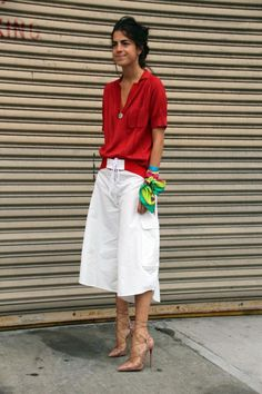 Are You Wondering What I Wore? | Man Repeller #LFW Rachel Comey top, Rosie Assoulin board shorts, Christian Louboutin heelz #christianlouboutin2017
