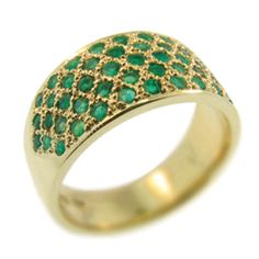 18ct Yellow Gold & Emerald Pave Set Ring. Handmade at Cameron Jewellery. NZD$1995.00