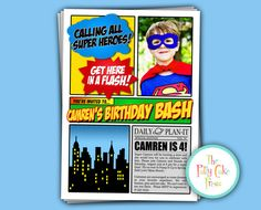 Super Hero Photo Invitation Birthday Party por ThePattyCakePress
