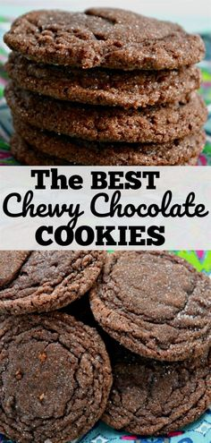 Chocolate Cookies - Chewy Candy - Ideas of Chewy Candy - The BEST Chewy Chocolate Cookies on the planet!Chewy Chocolate Cookies - Chewy Candy - Ideas of Chewy Candy - The BEST Chewy Chocolate Cookies on the planet! Oreo Dessert, Cookie Desserts, Easy Desserts, Appetizer Dessert, Easy Delicious Desserts, Simple Dessert Recipes, Hersheys, Crinkle Cookies, Easy Cookie Recipes