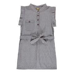 Heidi Chambray Striped Organic Cotton Dress Grey Nui Fashion