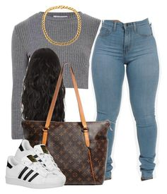 """""""."""" by trillest-queen ❤ liked on Polyvore featuring Glamorous, Louis Vuitton and adidas Originals"""
