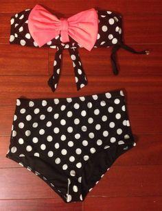 c4ff059e5c Two piece bandeau bow bra with removable soft cups. Includes detachable  straps. High waist