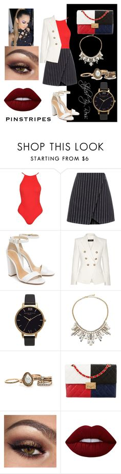 """love this!!!!!!"" by styledbyross on Polyvore featuring moda, New Look, Schutz, Balmain, Olivia Burton, ABS by Allen Schwartz, Chanel y Lime Crime"