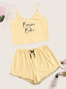 ((AffiliateLink)) Style: Cute Color: Yellow, Pastel Pattern Type: Letter Neckline: Spaghetti Strap Type: Short Sets Details: Knot, Lettuce Trim Sleeve Length: Sleeveless Composition: Polyester, Spandex Material: Polyester Fabric: Fabric has some stretch Cute Pajama Sets, Cute Pajamas, Pj Sets, Teen Fashion Outfits, Girl Outfits, School Outfits, Cute Lazy Outfits, Stylish Outfits, Jugend Mode Outfits