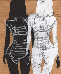 Fashion Sketchbook mixed media illustrations of hip to chest enclosure by Ellie Mountfort - charcoal ink and layered handmade and brown paper